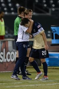 Lowry consoles Danny Barrow.